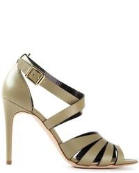 olivgrüne Leder Sandaletten