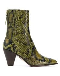 olivgrüne Leder Stiefeletten mit Schlangenmuster von Aquazzura