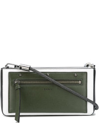 olivgrüne Leder Umhängetasche von DKNY