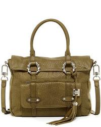 olivgrüne Satchel-Tasche aus Leder
