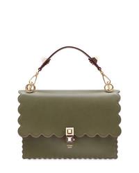 olivgrüne Satchel-Tasche aus Leder von Fendi