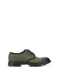 olivgrüne Segeltuch Derby Schuhe
