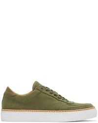 olivgrüne Segeltuch niedrige Sneakers
