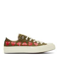 olivgrüne Segeltuch niedrige Sneakers von Comme Des Garcons Play