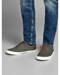 olivgrüne Segeltuch niedrige Sneakers von Jack & Jones