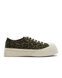 olivgrüne Segeltuch niedrige Sneakers von Marni