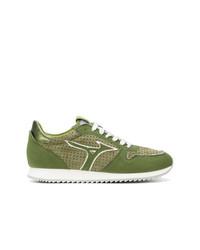 olivgrüne Segeltuch niedrige Sneakers von Mizuno