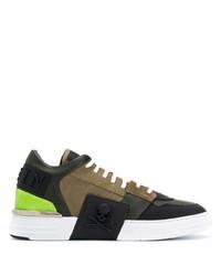 olivgrüne Segeltuch niedrige Sneakers von Philipp Plein