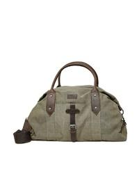olivgrüne Segeltuch Reisetasche von Dreimaster