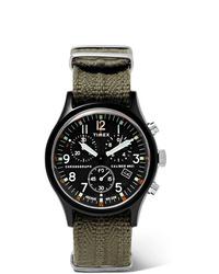 olivgrüne Segeltuchuhr von Timex