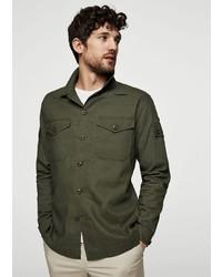 olivgrüne Shirtjacke von Mango Man
