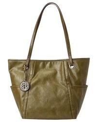 olivgrüne Shopper Tasche aus Leder
