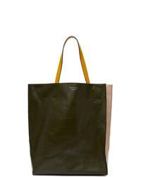 olivgrüne Shopper Tasche aus Leder von Marni