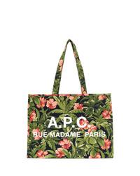 olivgrüne Shopper Tasche aus Segeltuch mit Blumenmuster von A.P.C.