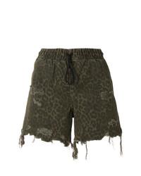 olivgrüne Shorts mit Leopardenmuster von T by Alexander Wang