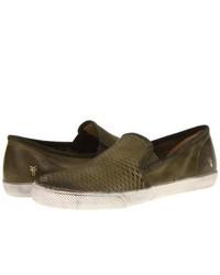 olivgrüne Slip-On Sneakers aus Leder