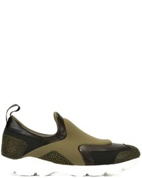 olivgrüne Slip-On Sneakers aus Leder von MM6 MAISON MARGIELA