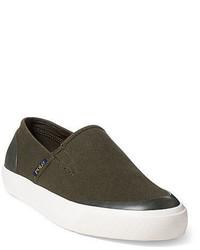olivgrüne Slip-On Sneakers aus Segeltuch