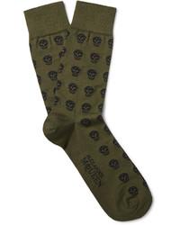 olivgrüne Socken von Alexander McQueen