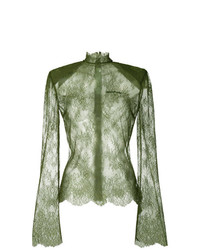 olivgrüne Spitze Langarmbluse von Off-White