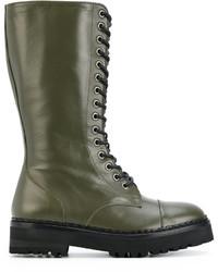 olivgrüne Stiefel von Moschino