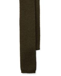 olivgrüne Strick Krawatte
