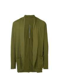 olivgrüne Strickjacke mit einer offenen Front
