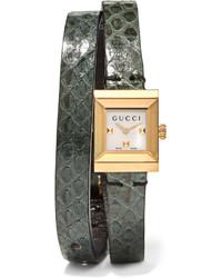 olivgrüne Uhr von Gucci