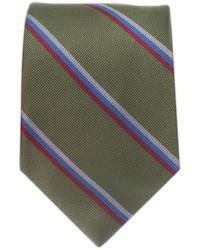 olivgrüne vertikal gestreifte Krawatte