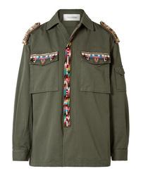 olivgrüne verzierte Militärjacke von Valentino