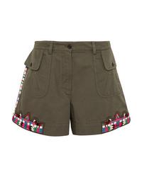olivgrüne verzierte Shorts von Valentino