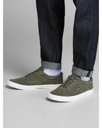 olivgrüne Wildleder niedrige Sneakers von Jack & Jones