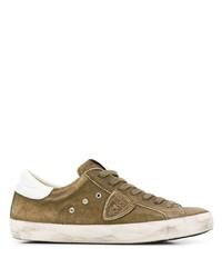 olivgrüne Wildleder niedrige Sneakers von Philippe Model