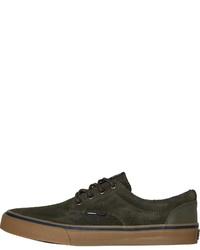 olivgrüne Wildleder niedrige Sneakers von Tommy Hilfiger