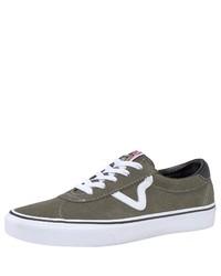 olivgrüne Wildleder niedrige Sneakers von Vans