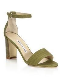 olivgrüne Wildleder Sandaletten