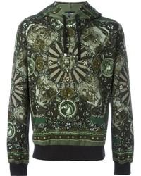 olivgrüner bedruckter Pullover mit einem Kapuze
