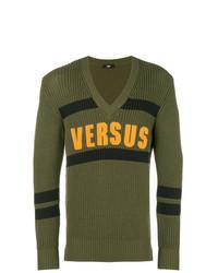olivgrüner bedruckter Pullover mit einem V-Ausschnitt