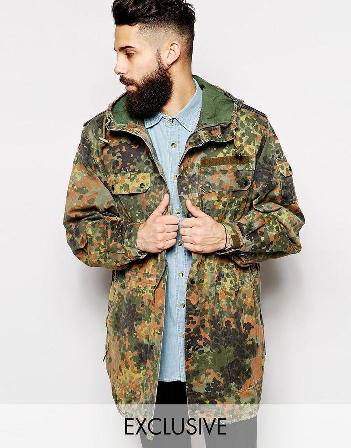 €96, olivgrüner Camouflage Parka von Reclaimed Vintage