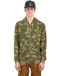 olivgrüner Camouflage Pullover mit einem Kapuze