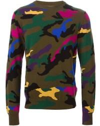 olivgrüner Camouflage Pullover mit einem Rundhalsausschnitt von Valentino