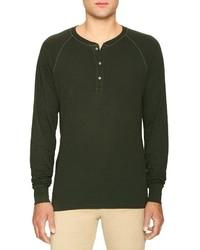olivgrüner Henley-Pullover