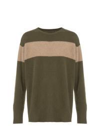 olivgrüner horizontal gestreifter Pullover mit einem Rundhalsausschnitt