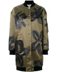 olivgrüner Mantel mit Blumenmuster von Moschino