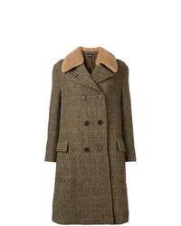olivgrüner Mantel mit einem Pelzkragen von Aspesi