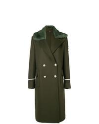 olivgrüner Mantel mit einem Pelzkragen von Ermanno Scervino