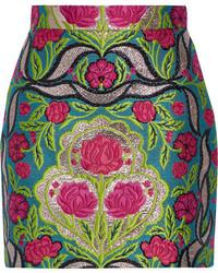 olivgrüner Minirock mit Blumenmuster von Gucci