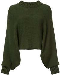 olivgrüner Oversize Pullover