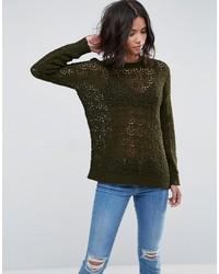 olivgrüner Oversize Pullover von Asos