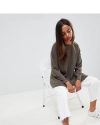 olivgrüner Oversize Pullover von Asos Petite